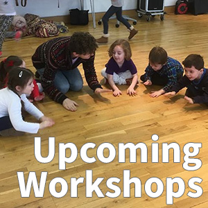 """Upcoming Workshops"" written on a photo of young children playing"