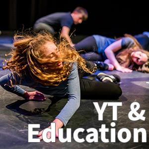 """YT & Education"" written on top of a woman falling"
