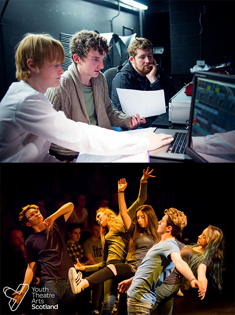 Nick with a two technicians working through notes on the laptop in the lighting box. Underneath is a photo of 5 actors in a shape like an explosion, with the audience behind